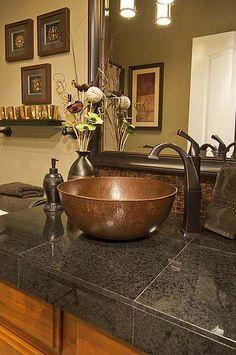 Copper Vessel sink -- master bath Copper Vessel Sinks, White Vessel Sink, Vessel Sink Vanity, Sink Faucets, Bathroom Renos, Basement Bathroom, Downstairs Loo, Master Bathrooms, Bathroom Images