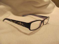 Prada Purple Eye Glass Frames with Applied Silver Design