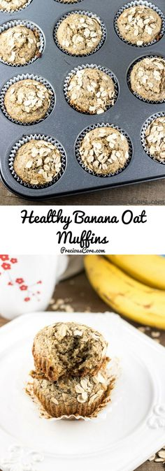 Healthy Banana Oat Muffins!  Tried very yummy!  Added:  coconut sugar 1 T Apple chunks Yellow no sugar added raisins Cinnamon   Evelyn loved! Great with grass fed butter!