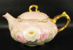 Antique Jean Pouyat Limoges Teapot Hand Painted Roses CP Smith France | eBay