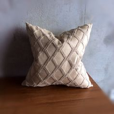 "Beige Sofa Pillow - Brown Euro Cushion - Neutral Bedding - Light Brown Pillow - Trellis Design - Tan - Charles Workshop   This is a 24"" x 24"" cushion pillow cover. I made it using high quality boucle and linen fabric. The beige color will go well with most warm color schemes.  I used an invisible zipper for closure."