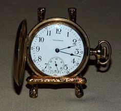 """Vintage Waltham Goldtone Pocket Watch, Case by Illinois Watch Case Co., Elgin, Illinois, """"The Winner"""" Case Guaranteed for 20 Years."""