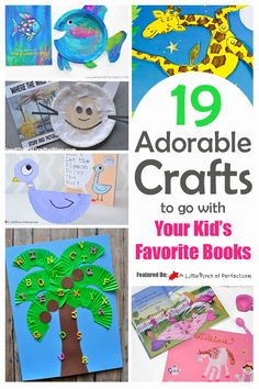 We love book themed crafts and activities so I am so thrilled about today's post because it is filled with the cutest ideas including Chicka Chicka Boom Boom, The Rainbow Fish, The Hungry Caterpillar, Pinkalicious Pete the Cat, and more… ! Preschool Books, Preschool Crafts, Fun Crafts, Daycare Crafts, Montessori Books, Science Crafts, Science Experiments, Arts And Crafts For Teens, Crafts For Kids