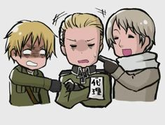 Poor Germany! England and Russia are so mean! Hetalia