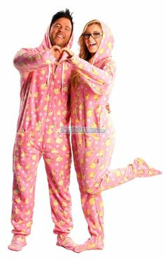 41aa8215ee Matching Couples #Pajamas: Pink Hooded Duck Footed Pajamas Christmas  Onesie, Christmas Gift List