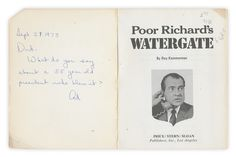 Sept. 21/7 1973      Dad-     What do you say about a 55 year old president who blew it?     Qd