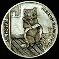 HOWARD THOMAS HOBO NICKEL - MY CHRISTMAS WISH LIST - 1927 BUFFALO NICKEL REVERSE CARVING Coin Design, Hobo Nickel, Coin Art, Loch Ness Monster, Coins For Sale, Art Carved, Art Forms, Metal Art, Pencil Drawings