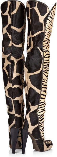 Roberto Cavalli Animalprint Calf Hair Thigh Boots in Animal - Lyst