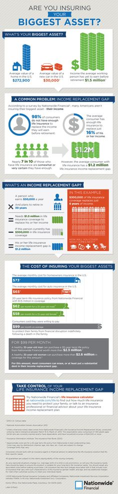 Life Insurance Income Replacement Infographic A sound financial plan should include an appropriate amount of life insurance. Protect your loved ones by making sure your life insurance plan can replace the income your family needs to maintain its standard of living. http://www.nationwide.com/insure-your-biggest-asset-infographic.jsp?WT.tsrc_SM_NW