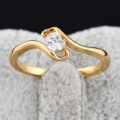 Full Sizes Unisex Elegant Jewelry Copper Finger Ring Inlay Round White Zircon Two Colors