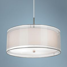 """Off-White Double Shade 20"""" Wide Brushed Nickel Pendant Light -"""