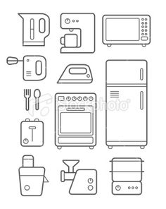 Kitchen Technics Icons Set Royalty Free Stock Vector Art Illustration