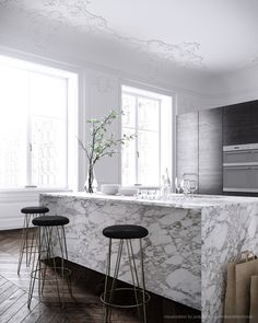 real or not, this is an awesome kitchen. all marble kitchen island, The Computer Generated Worlds of Talcik Demovicova