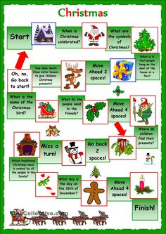 esl christmas board game worksheet - Google Search