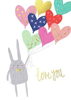 Charlotte Pepper - VALENTINE BUNNY AND BALLOONS