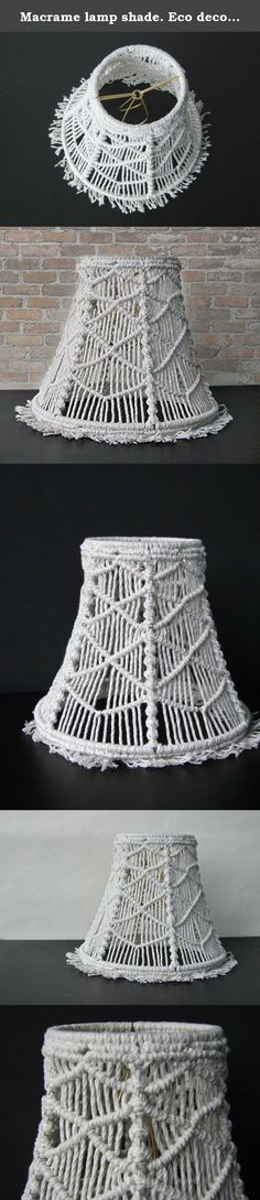 Macrame lamp shade. Eco decor. Geometrical light fixture. Table light shade. Lamp shade decor. Macrame light shade. Boho style home decor. Small metal frame lamp cover. Night lights for nursery. Ready to ship ! New design is coming to my customers. Off-white cotton untreated twine and metal frame lamp shade. all together came in to beautiful macrame light cover or lamp shade. I made it in to the geometrical macrame pattern which remind diamond shape. You can use it as a baby nursery night...