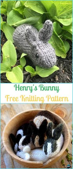 Amigurumi Henry's Bunny Free Knitting Pattern - Amigurumi Knit Bunny Toy Softies Free Patterns #Knitting