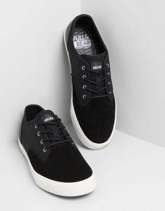 Pull&Bear - hombre - zapatos hombre - bamba piel detalle animal - negro - 17640312-I2014