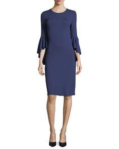 Cascade-Sleeve+Stretch+Matte+Jersey+Sheath+Dress+by+Michael+Kors+Collection+at+Neiman+Marcus.