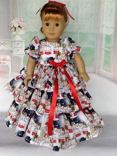 18 inch doll Retro Ruffled dress and half slip. Ropa American Girl, American Girl Crafts, American Doll Clothes, Ag Doll Clothes, Doll Clothes Patterns, Doll Patterns, Clothing Patterns, Dress Patterns, Doll Dresses