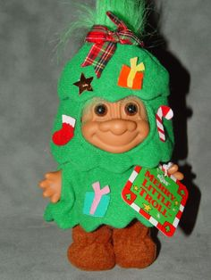Russ Merry Little Troll Doll 4 inch Christmas Tree with Tag Rare Norwegian Christmas, Plastic Doll, Troll Dolls, Unique Image, Great Memories, Doll Stuff, Cute Dolls, Cardinals, Vintage Toys