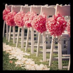 25 best tissue paper poms wedding decor images on pinterest paper tissue paper poms attach to the chairs and line the aisle in place of floral chair solutioingenieria Image collections