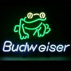 Budweiser Frog Beer Bar Pub Sign///How I love you neon signs , Real nice for my Home Bar Deco