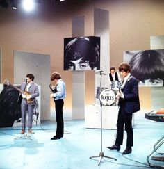 "The Beatles, rehearsing for their 1965 appearance on ""The Ed Sullivan Show""."