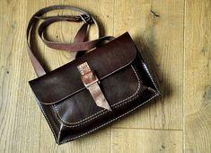 Chocolate crossbody leather bag by @burtsevbags