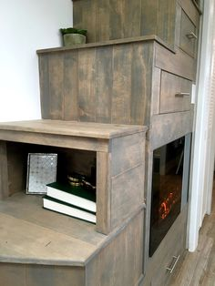 This is a really good stair and storage with the fake fire place, but where is the TV? Is the fire place the TV?