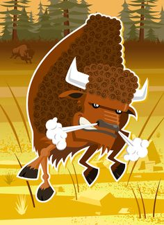 Bison vector illustration designed by Paul Howalt for Kono magazine's endangered species series. #TactixCreative #bison #graphicdesign