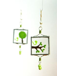 Unique Glass Earrings with Green Birds and Tree by lintunakit, $20.00