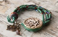 Earthy boho multistrand beaded bracelet by WinterBirdStudio