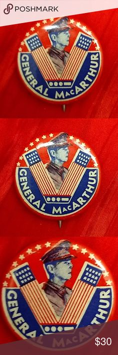 """WWII MacArthur V for Victory Metal Patriotic Badge RARE V for Victory General MacArthur metal Homefront Patriotic WWII pin badge.  This excellent US military support pin has no loss of red, white and blue color, has a flag motif """"V for Victory"""" symbol with Morse Code shown for letter """"V"""" below.  Effigy of General Douglas MacArthur is set inside the """"V"""".  Stars and Stripes galore.  1 1/4"""" diameter. Signed on back by unknown manufacturer.  Dirt on back of pin easily cleaned off with a wipe…"""