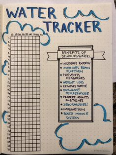 bucket list bullet journal Monthly water tracker i - bucketlist Bullet Journal Tracker, Bullet Journal Starter Kit, Bullet Journal Notebook, Bullet Journal Themes, Bullet Journal Ideas Pages, Bullet Journal Spread, Bullet Journal Layout, Bullet Journal Inspiration, Journal Pages