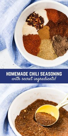 This chili seasoning recipe is a perfect blend to have in your cupboard for when you want to make a quick pot of chili. There are a couple surprises that set this spice mix apart! Homemade Chili Seasoning, Chili Seasoning Mix, Homemade Spices, Homemade Seasonings, Chili Spice Mix Recipe, Chili Season Recipe, Chile, Chili Spices, Spice Mixes
