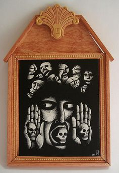 "The Fourth Station. Station 4, Jesus is denied by Peter  9"" x 13.75"" Scratchboard and wood. 2011 In a private collection, UK"