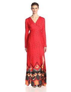 MINKPINK Women's Dancing Crane Long Sleeve Maxi Dress, Red