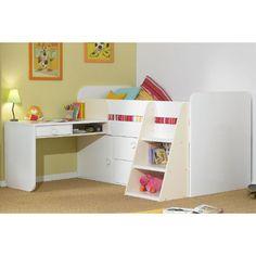 storage bed w/ desk and slanting ladder/bookcase