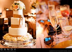 Reception details - wedding cake and champagne flutes