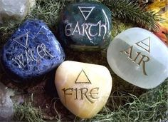 Earth, Air, Fire, Water etched stones