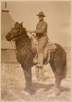 A 1906 photo of a U.S. Cavalry curly horse in Mongolia.