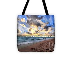 "Juno Beach Pier Florida Sunrise Seascape D7 Tote Bag by Ricardos Creations (13"" x 13"" - 18"").  The tote bag is machine washable, available in three different sizes, and includes a black strap for easy carrying on your shoulder.  All totes are available for worldwide shipping and include a money-back guarantee."