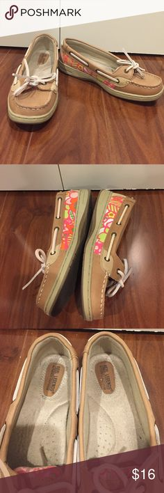 Pink Floral Boatshoes These shoes are gently used. They're like a Sperry Angelfish style. The fabric on the sides almost looks like Lilly Pulitzer. Great for throwing on with some shorts. Reel Legends Shoes Flats & Loafers