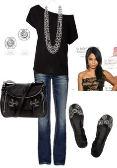 """Black & Silver"" by honeybee20 on Polyvore - really like the outfit, not sure about the bag"