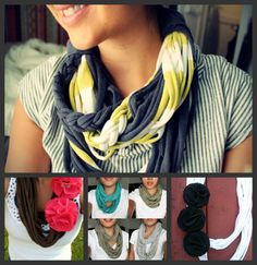 T Shirt Scarf Recycled upcycled Jersey Scarf YOU CHOOSE COLORS. $15.00, via Etsy.