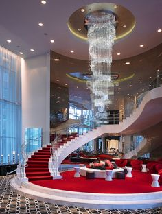 gorgeous chandelier and grand staircase at the W Hollywood Hotel...