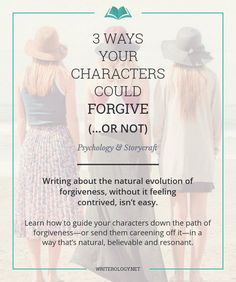 Guide your characters down a path of forgiveness—or send them careening off it—in a way that's as natural, believable and interesting to your readers as possible. Look first at the real-life intricacies of forgiving. Book Writing Tips, Writing Quotes, Writing Process, Fiction Writing, Writing Resources, Writing Help, Persuasive Writing, Writing Ideas, Quotes Quotes