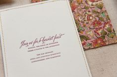 Harvest Invitation by Gus& Ruby Letterpress featuring Belluccia calligraphy font by Lettering Art Studio