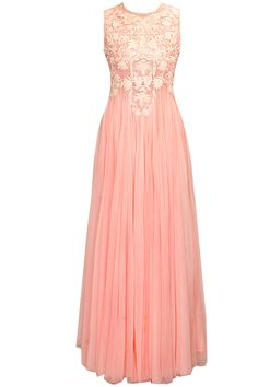 Blush pink floral thread embroidered flared gown by Samant Chauhan  Shop now:  http://www.perniaspopupshop.com/designers/samant-chauhan  #shopnow #perniaspopupshop #samantchauhan